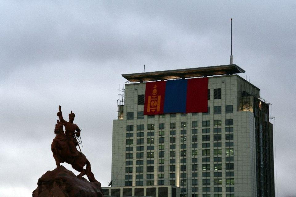 Mongolei,Ulan Bator,Flagge,Suchbaatar